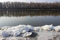 Ландшафт зимы с льдом, рекой и лесом на предпосылке Стоковые Изображения