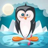 Ландшафт зимы, характеры пингвина мультфильма бесплатная иллюстрация