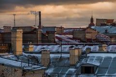 Ландшафт зимы Sankt-Peterburg стоковые фотографии rf