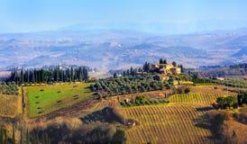 ландшафт Италии иллюстрации руки страны мой оригинал покрасил Тоскану Стоковое Фото