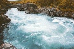 Ландшафт каньона Abiskojakka реки во взгляде перемещения национального парка Швеции Abisko стоковое фото