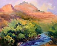 Ландшафт картины акварели Стоковые Фото