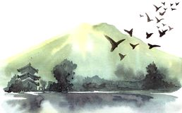Ландшафт китайца акварели Стоковая Фотография