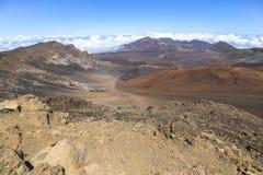 Ландшафт кратера вулкана Haleakala на Мауи Стоковая Фотография RF