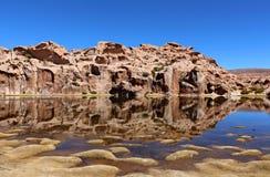 Ландшафт лагуны черноты Laguna Negra, Altiplano, Боливия стоковая фотография rf