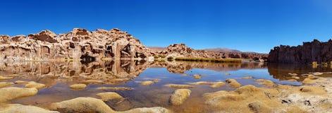 Ландшафт лагуны черноты Laguna Negra, Altiplano, Боливия стоковое изображение