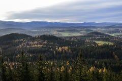 Ландшафт леса горы осени Гигантские горы, Польша Стоковое Изображение RF