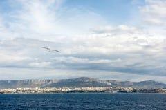 Ландшафт лета обозревая город разделения от Адриатического моря Стоковое Изображение RF