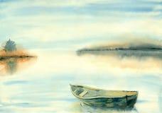 Ландшафт лета предпосылки акварели расплывчатый иллюстрация штока