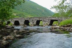 Ландшафт лета с старым каменным мостом через малое реку в сельской Норвегии Стоковые Изображения RF
