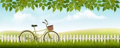 Ландшафт луга природы с велосипедом Стоковое Изображение