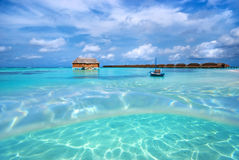 ландшафт Мальдивы пляжа Стоковая Фотография