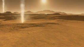 Ландшафт Марса, пыльная буря с дьяволами пыли на Марсе сток-видео
