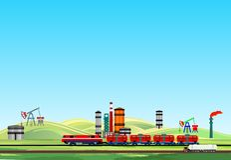 Ландшафт масла промышленный, поезд масла и заводы масла, фабрика нефти стоковое изображение