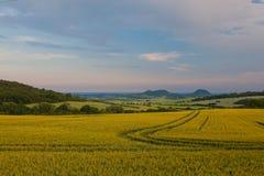 Ландшафт между полями на деревне Merunice, чехе Repu Стоковые Фотографии RF