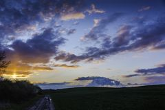 Ландшафт морены конца на ноче Стоковое фото RF