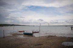 Ландшафт моря и шлюпки стоковое изображение