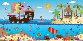 Ландшафт моря с детьми бесплатная иллюстрация