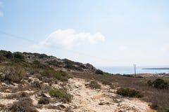 Ландшафт накидки Greco природного парка около Ayia Napa, Кипра стоковое изображение rf