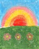 ландшафт нарисованный щеткой иллюстрация штока