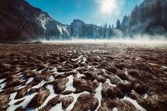 Ландшафт национального парка Yosemite в утре Поле травы под снегом и туман с горным видом Стоковое Изображение RF