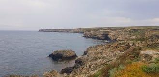Ландшафт на накидке Tarhankut, Крыме Стоковые Изображения RF