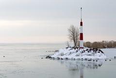 Ландшафт на озере Balaton в времени зимы Стоковое Изображение