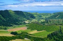 Ландшафт на острове Мигеля Sao, Азорских островах, Португалии Стоковые Изображения