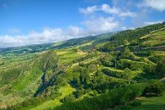 Ландшафт на острове Мигеля Sao, Азорских островах, Португалии Стоковое Изображение RF