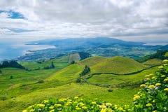 Ландшафт на острове Мигеля Sao, Азорских островах, Португалии Стоковое Фото