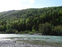 Ландшафт на реке Изаре около Fleck долины, Баварии стоковое фото rf