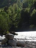 Ландшафт на реке Изаре около Fleck долины, Баварии стоковое изображение