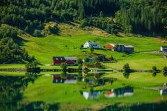 Ландшафт Норвегии красивой природы естественный с фьордом, домами и горой стоковое фото rf