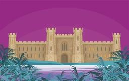 Ландшафт ночи с замком бесплатная иллюстрация