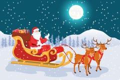 Ландшафт ночи с полнолунием рождества Санта Клауса бесплатная иллюстрация