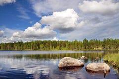 Ландшафт озера в Karelia Стоковые Фотографии RF