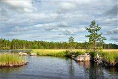 Ландшафт озера в Karelia Стоковое фото RF