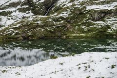 Ландшафт озера и горных вершин гор Стоковые Фото