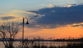 Ландшафт озера Trasimeno на заходе солнца стоковые фото