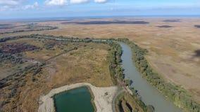 Ландшафт около моря Азова, реки, искусственного озера и открытых пространств для охотиться и удить Стоковая Фотография RF