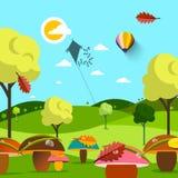 Ландшафт осени в сентябре Поле с грибами и деревьями бесплатная иллюстрация