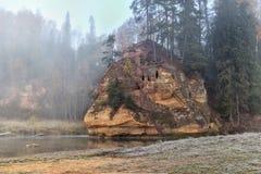 Ландшафт осени и красная каменная скала реки Amata, Латвии, Европы стоковая фотография rf