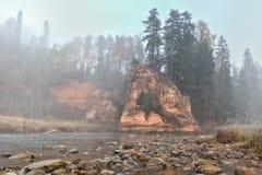 Ландшафт осени и красная каменная скала реки Amata, Латвии, Европы стоковые фото