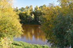 Ландшафт осени Солнечный ландшафт Река в осени стоковая фотография