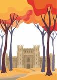 Ландшафт осени с замком иллюстрация штока