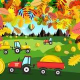 Ландшафт осени Тракторы на поле иллюстрация вектора