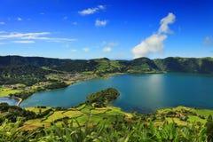 Ландшафт от вулканического озера кратера Sete Citades Стоковая Фотография