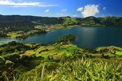 Ландшафт от вулканического озера кратера Sete Citades Стоковые Изображения RF