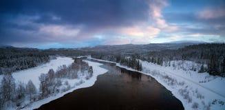 Ландшафт от северной Норвегии, зона зимы бореальный Grong стоковая фотография