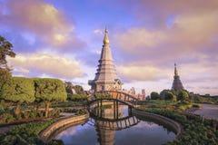 Ландшафт 2 пагода, перемещение отдыха места в Inthanon стоковые фото